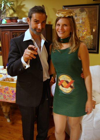 Couple dressed as a Dos Equis beer commercial for Halloween