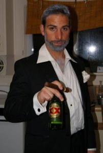 Dressed as the most interesting man in the world from the dos equis commercials